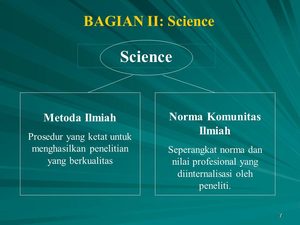 7 Science Metoda Ilmiah Prosedur yang ketat untuk menghasilkan penelitian yang berkualitas Norma Komunitas Ilmiah Seperangkat norma dan nilai profesio