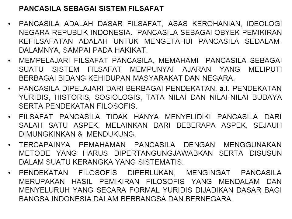 PANCASILA SEBAGAI SISTEM FILSAFAT PANCASILA ADALAH DASAR FILSAFAT, ASAS KEROHANIAN, IDEOLOGI NEGARA REPUBLIK INDONESIA. PANCASILA SEBAGAI OBYEK PEMIKI