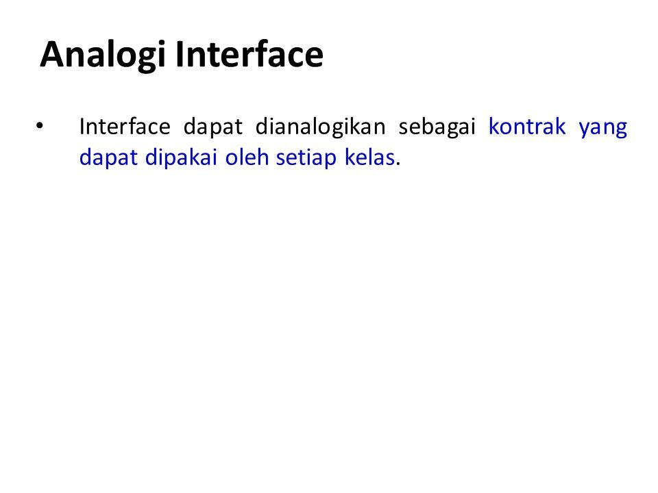 Analogi Interface Interface dapat dianalogikan sebagai kontrak yang dapat dipakai oleh setiap kelas.