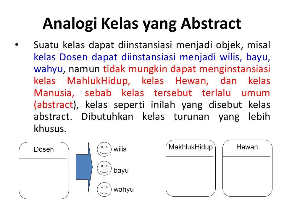 Analogi Kelas yang Abstract Suatu kelas dapat diinstansiasi menjadi objek, misal kelas Dosen dapat diinstansiasi menjadi wilis, bayu, wahyu, namun tid
