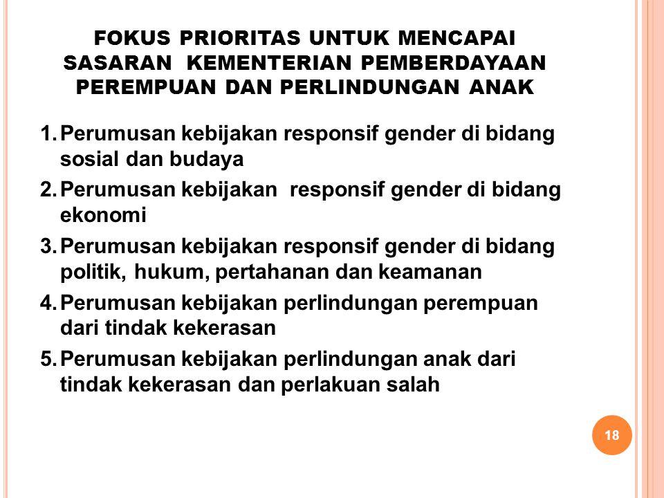 18 FOKUS PRIORITAS UNTUK MENCAPAI SASARAN KEMENTERIAN PEMBERDAYAAN PEREMPUAN DAN PERLINDUNGAN ANAK 1.Perumusan kebijakan responsif gender di bidang so