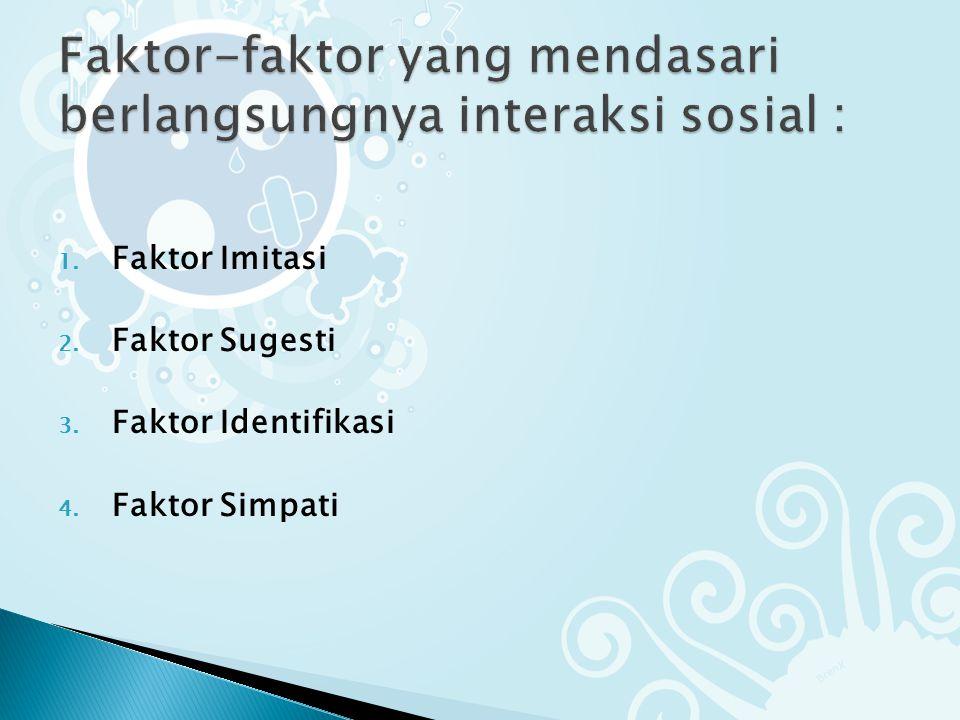 1. Faktor Imitasi 2. Faktor Sugesti 3. Faktor Identifikasi 4. Faktor Simpati