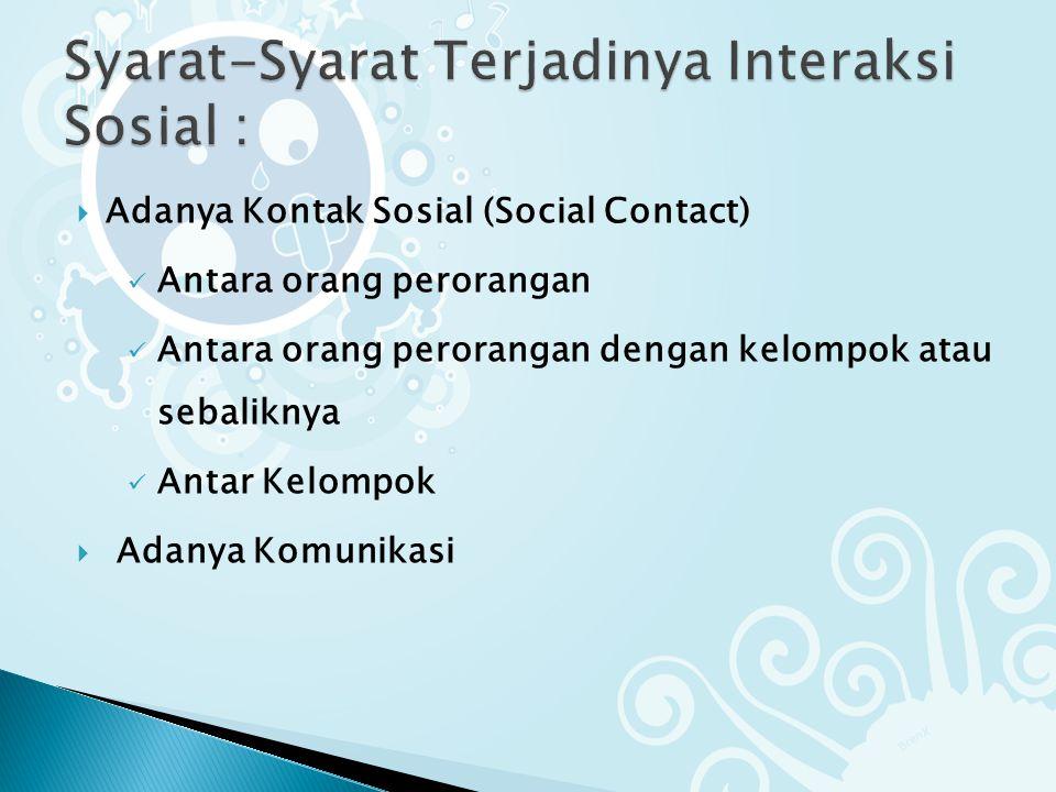  Adanya Kontak Sosial (Social Contact) Antara orang perorangan Antara orang perorangan dengan kelompok atau sebaliknya Antar Kelompok  Adanya Komunikasi