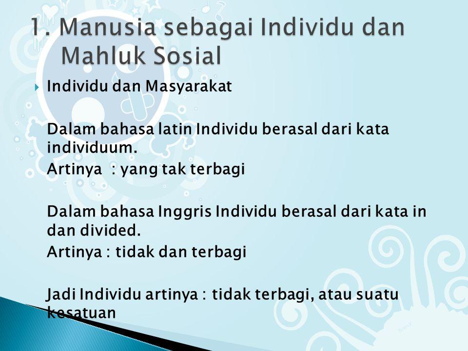  Individu dan Masyarakat Dalam bahasa latin Individu berasal dari kata individuum.