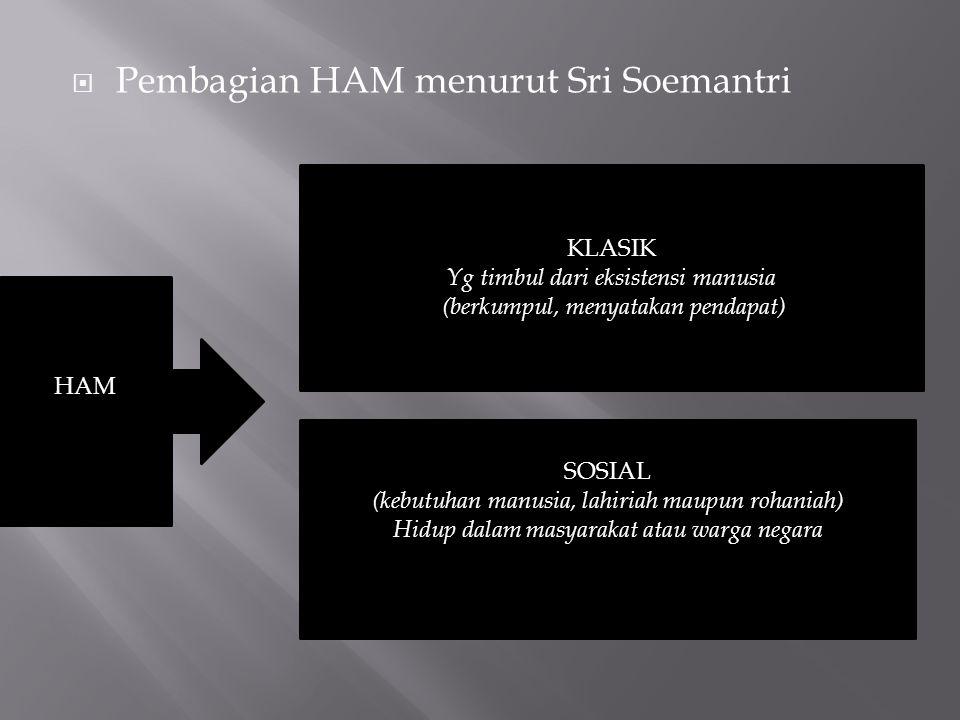  Pembagian HAM menurut Sri Soemantri HAM KLASIK Yg timbul dari eksistensi manusia (berkumpul, menyatakan pendapat) SOSIAL (kebutuhan manusia, lahiriah maupun rohaniah) Hidup dalam masyarakat atau warga negara