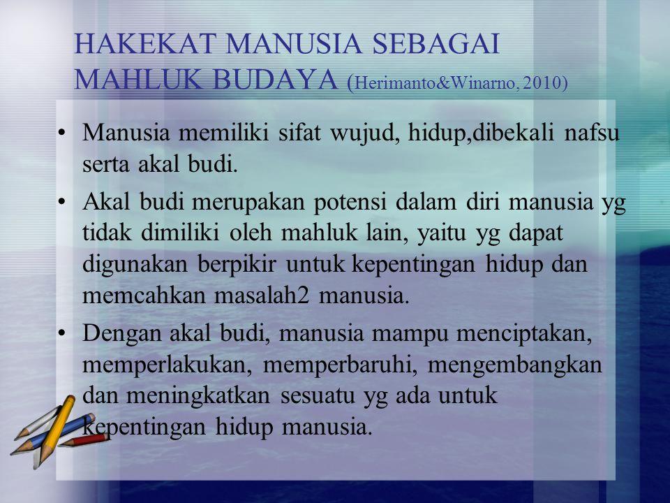 HAKEKAT MANUSIA SEBAGAI MAHLUK BUDAYA ( Herimanto&Winarno, 2010) Manusia memiliki sifat wujud, hidup,dibekali nafsu serta akal budi. Akal budi merupak