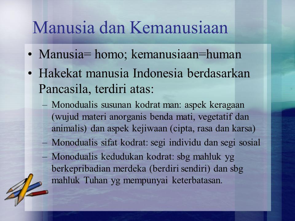 Manusia dan Kemanusiaan Manusia= homo; kemanusiaan=human Hakekat manusia Indonesia berdasarkan Pancasila, terdiri atas: –Monodualis susunan kodrat man