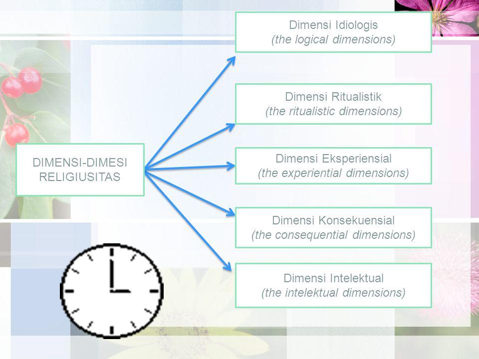 DIMENSI-DIMESI RELIGIUSITAS Dimensi Eksperiensial (the experiential dimensions) Dimensi Idiologis (the logical dimensions) Dimensi Ritualistik (the ritualistic dimensions) Dimensi Konsekuensial (the consequential dimensions) Dimensi Intelektual (the intelektual dimensions)