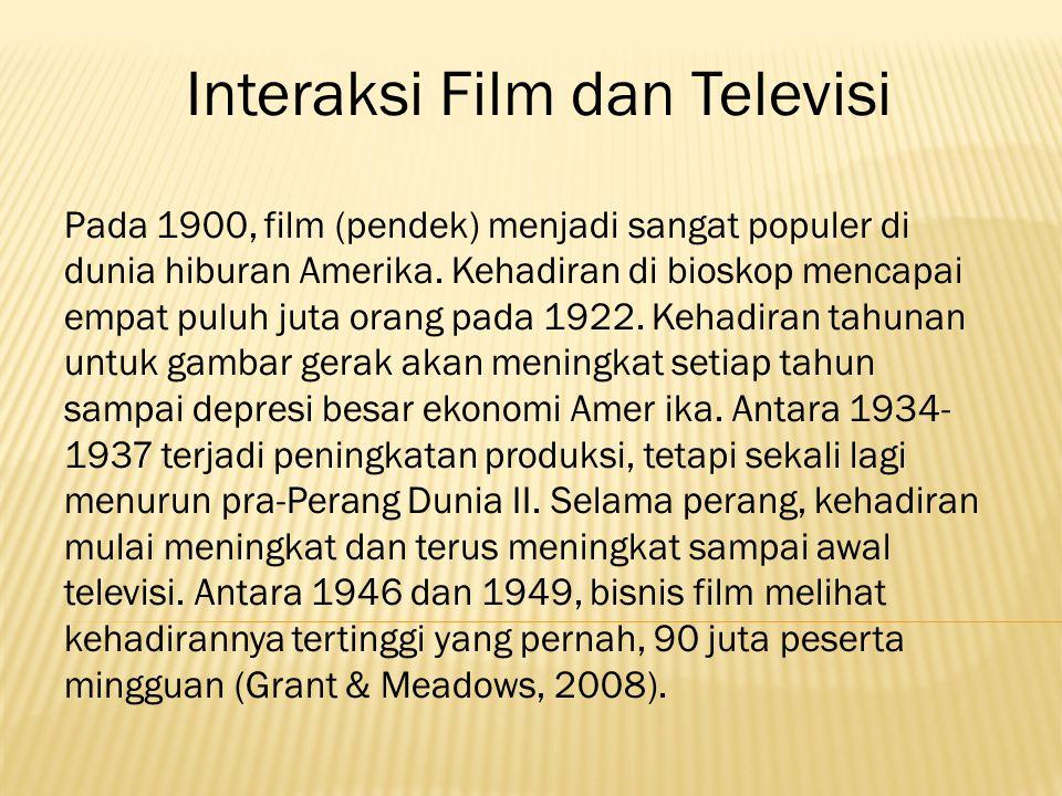 Interaksi Film dan Televisi Pada 1900, film (pendek) menjadi sangat populer di dunia hiburan Amerika.