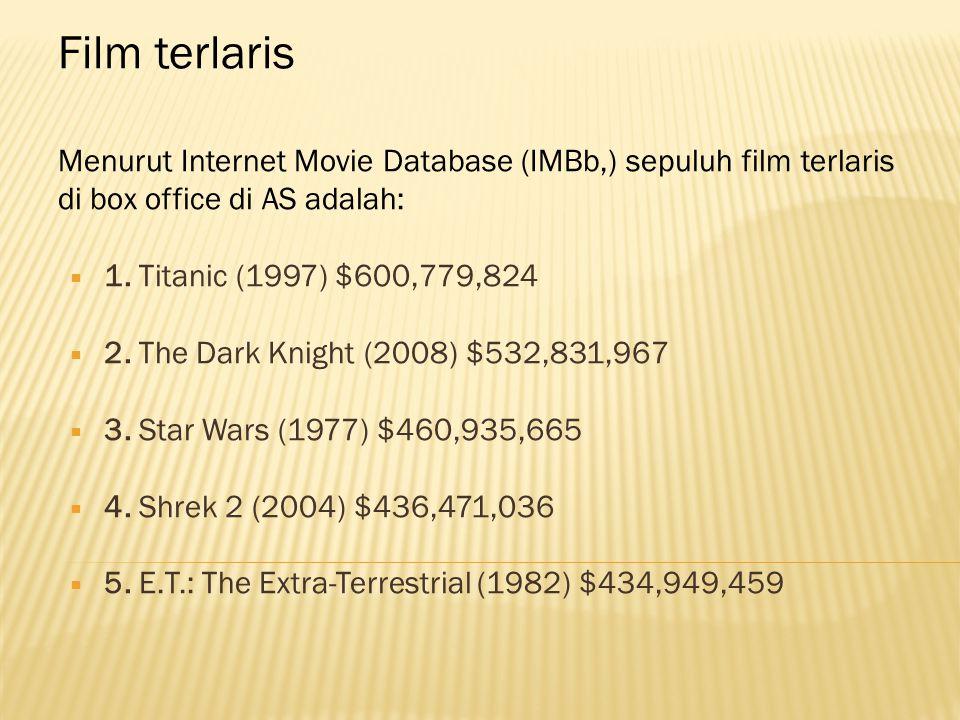 Film terlaris Lanjutan  6.Star Wars: Episode I - The Phantom Menace (1999) $431,065,444  7.