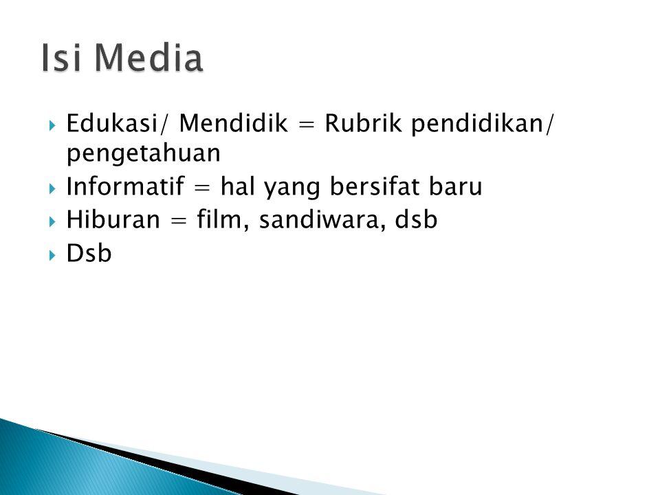 Edukasi/ Mendidik = Rubrik pendidikan/ pengetahuan  Informatif = hal yang bersifat baru  Hiburan = film, sandiwara, dsb  Dsb