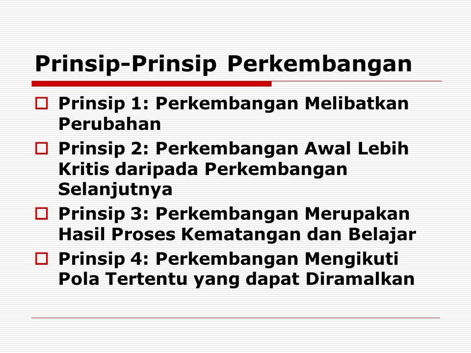 Prinsip-Prinsip Perkembangan  Prinsip 1: Perkembangan Melibatkan Perubahan  Prinsip 2: Perkembangan Awal Lebih Kritis daripada Perkembangan Selanjut