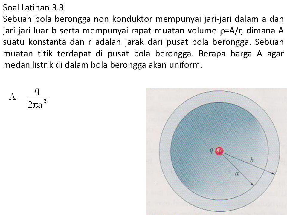 Soal Latihan 3.3 Sebuah bola berongga non konduktor mempunyai jari-jari dalam a dan jari-jari luar b serta mempunyai rapat muatan volume  =A/r, diman