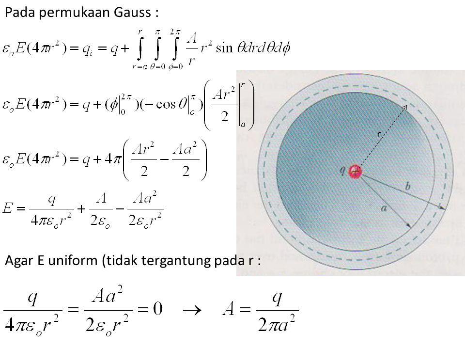 Agar E uniform (tidak tergantung pada r : r Pada permukaan Gauss :