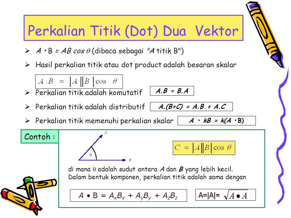  Hasil perkalian silang atau cross product adalah besaran vektor yang arah nya tegak lurus kedua vektor asal dengan aturan tangan kanan.