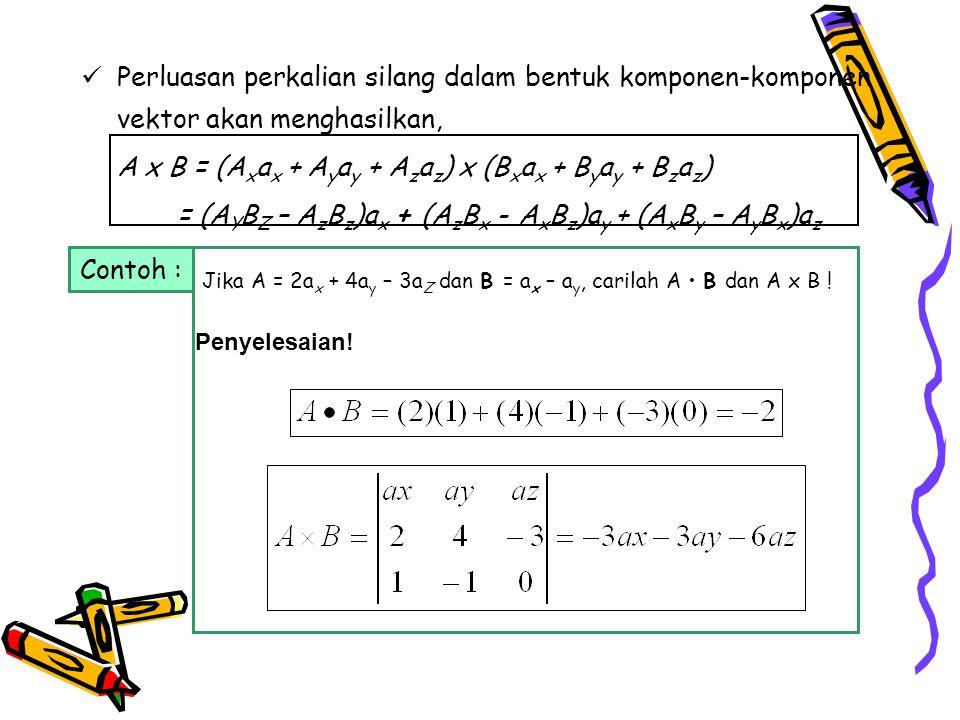 Perluasan perkalian silang dalam bentuk komponen-komponen vektor akan menghasilkan, A x B = (A x a x + A y a y + A z a z ) x (B x a x + B y a y + B z