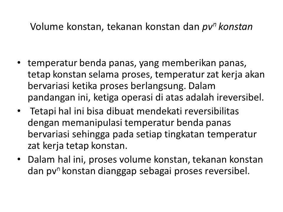 Volume konstan, tekanan konstan dan pv n konstan temperatur benda panas, yang memberikan panas, tetap konstan selama proses, temperatur zat kerja akan