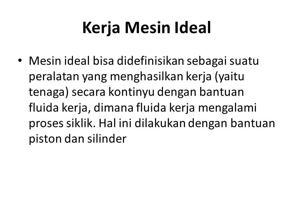 Kerja Mesin Ideal Mesin ideal bisa didefinisikan sebagai suatu peralatan yang menghasilkan kerja (yaitu tenaga) secara kontinyu dengan bantuan fluida
