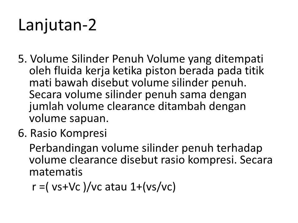 Lanjutan-2 5. Volume Silinder Penuh Volume yang ditempati oleh fluida kerja ketika piston berada pada titik mati bawah disebut volume silinder penuh.
