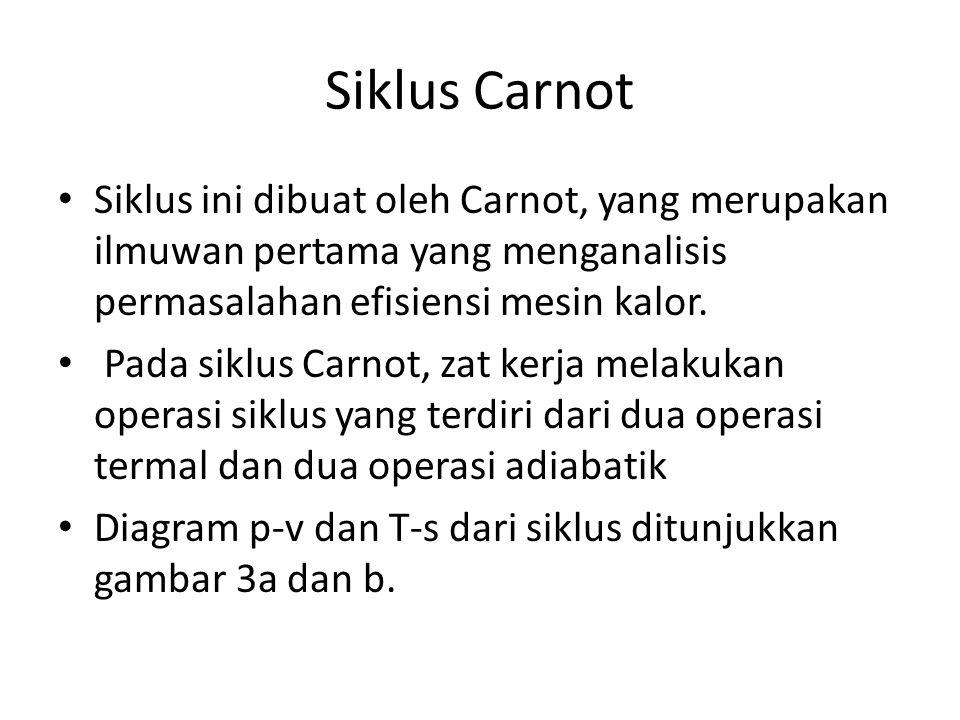 Siklus Carnot Siklus ini dibuat oleh Carnot, yang merupakan ilmuwan pertama yang menganalisis permasalahan efisiensi mesin kalor. Pada siklus Carnot,