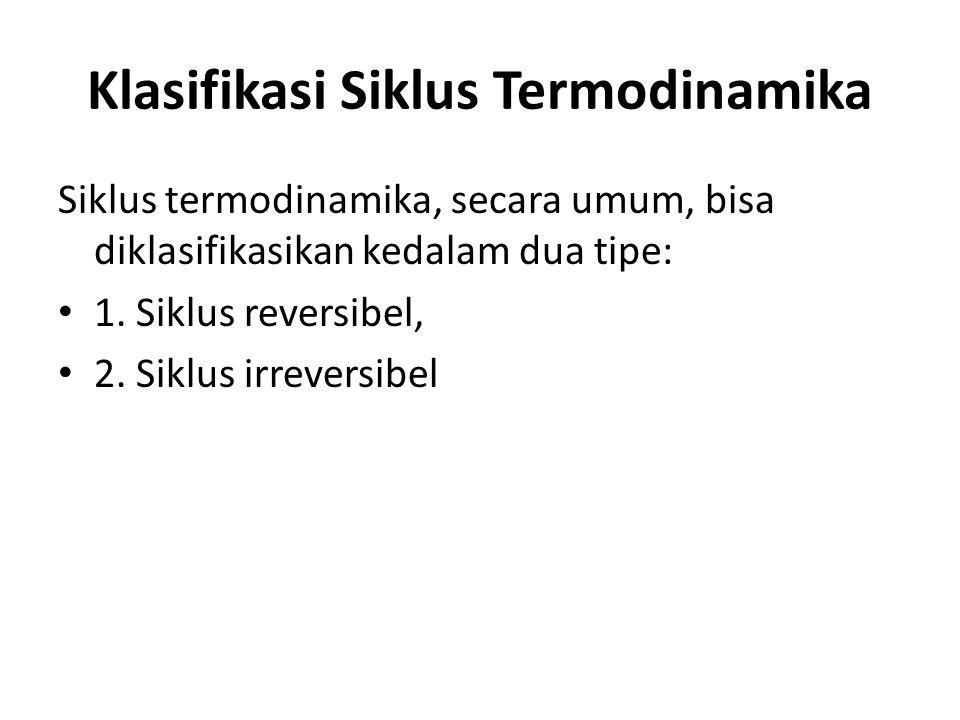 Klasifikasi Siklus Termodinamika Siklus termodinamika, secara umum, bisa diklasifikasikan kedalam dua tipe: 1. Siklus reversibel, 2. Siklus irreversib