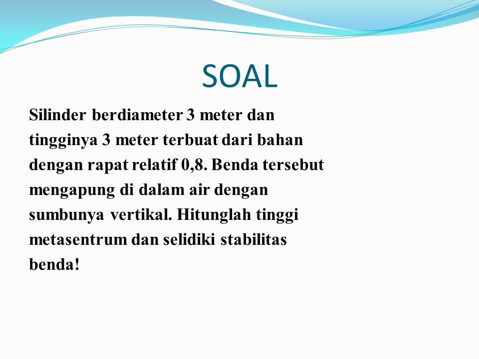 SOAL Silinder berdiameter 3 meter dan tingginya 3 meter terbuat dari bahan dengan rapat relatif 0,8. Benda tersebut mengapung di dalam air dengan sumb