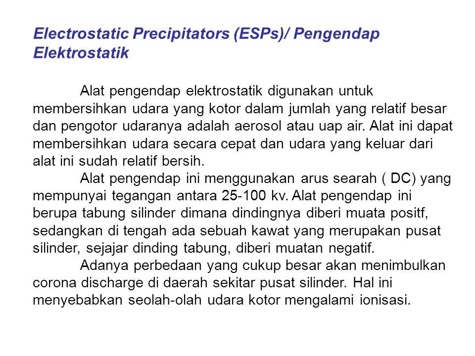 Electrostatic Precipitators (ESPs)/ Pengendap Elektrostatik Alat pengendap elektrostatik digunakan untuk membersihkan udara yang kotor dalam jumlah yang relatif besar dan pengotor udaranya adalah aerosol atau uap air.