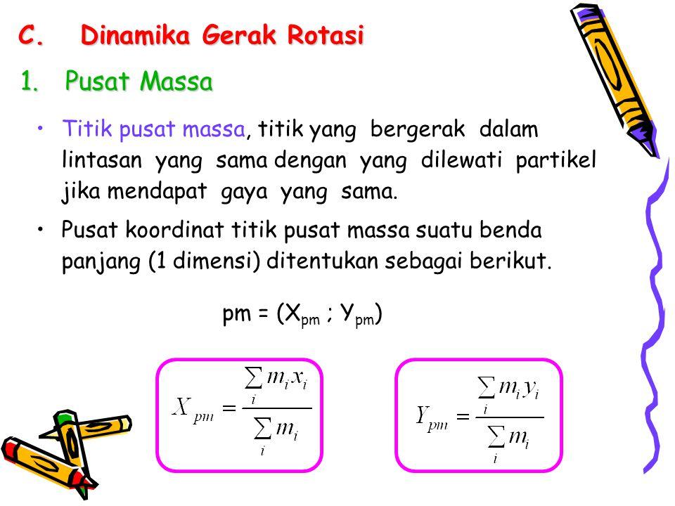 C.Dinamika Gerak Rotasi 1.Pusat Massa Titik pusat massa, titik yang bergerak dalam lintasan yang sama dengan yang dilewati partikel jika mendapat gaya