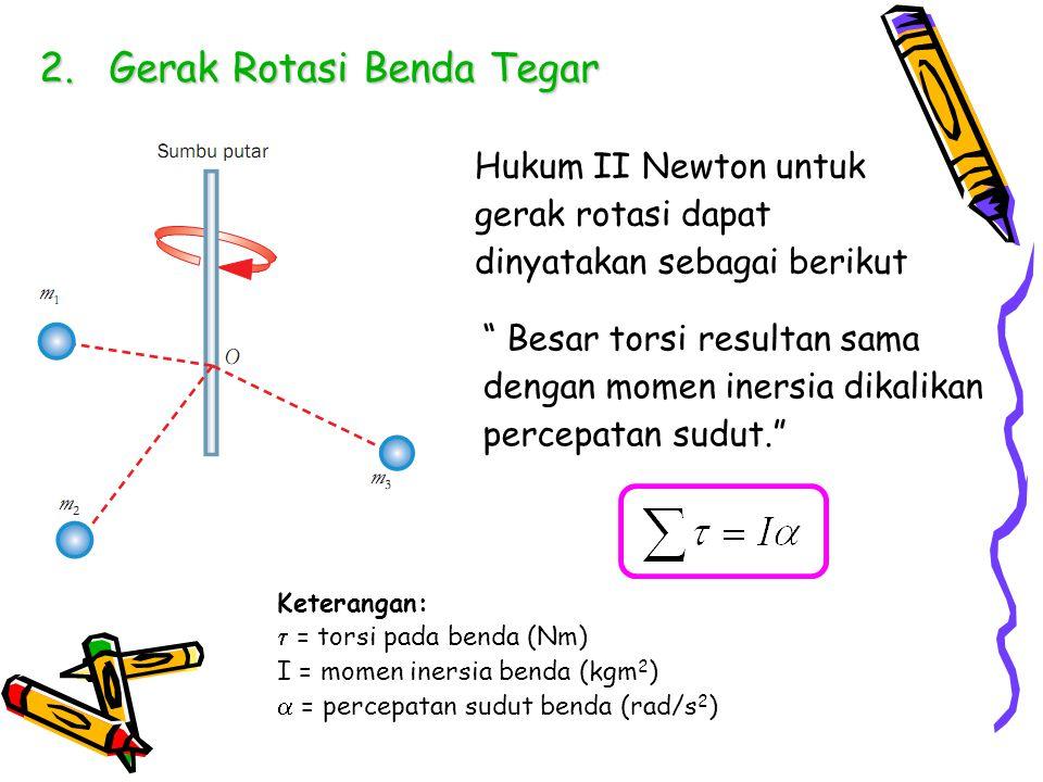 """2.Gerak Rotasi Benda Tegar Hukum II Newton untuk gerak rotasi dapat dinyatakan sebagai berikut """" Besar torsi resultan sama dengan momen inersia dikali"""
