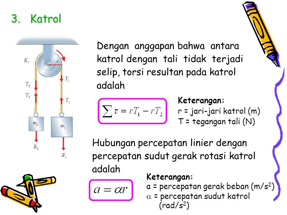 3.Katrol Dengan anggapan bahwa antara katrol dengan tali tidak terjadi selip, torsi resultan pada katrol adalah Keterangan: r = jari-jari katrol (m) T