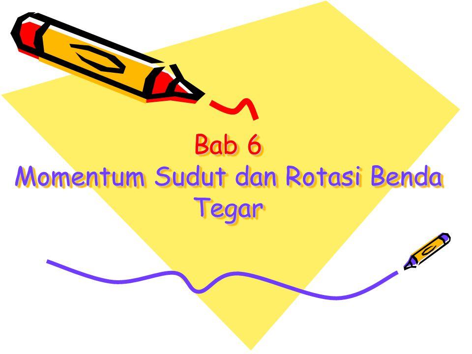 E.Momentum Sudut 1.Pengertian Momentum Sudut Sebuah benda bermassa m berotasi pada sumbu tetap dengan kecepatan sudut  sehingga memiliki momen inersia I, besar momentum sudutnya: Keterangan: L = momentum sudut (kg m 2 /s) I = momentum inersia (kg m 2 )  = kecepatan sudut (rad/s)