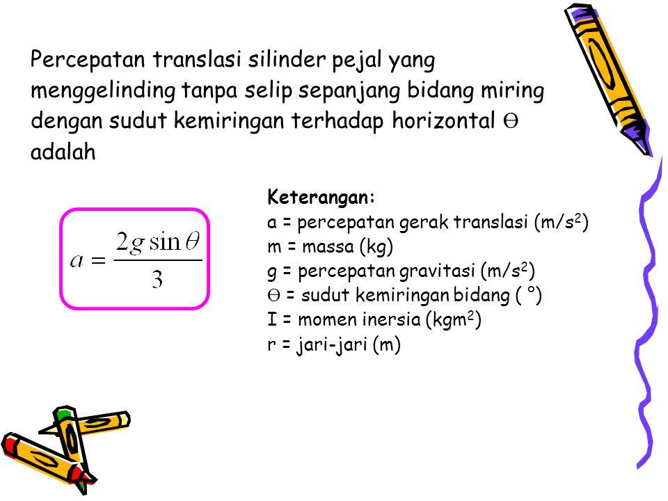 Percepatan translasi silinder pejal yang menggelinding tanpa selip sepanjang bidang miring dengan sudut kemiringan terhadap horizontal Ө adalah Ketera