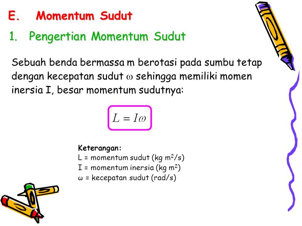 E.Momentum Sudut 1.Pengertian Momentum Sudut Sebuah benda bermassa m berotasi pada sumbu tetap dengan kecepatan sudut  sehingga memiliki momen inersi