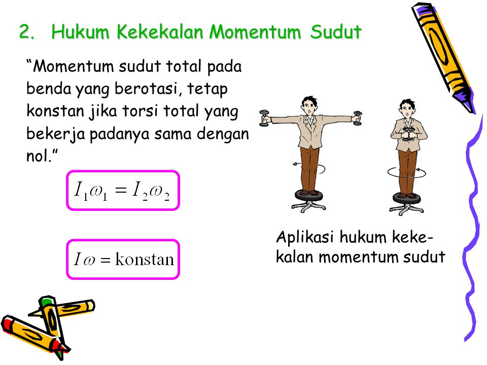 "2.Hukum Kekekalan Momentum Sudut ""Momentum sudut total pada benda yang berotasi, tetap konstan jika torsi total yang bekerja padanya sama dengan nol."""