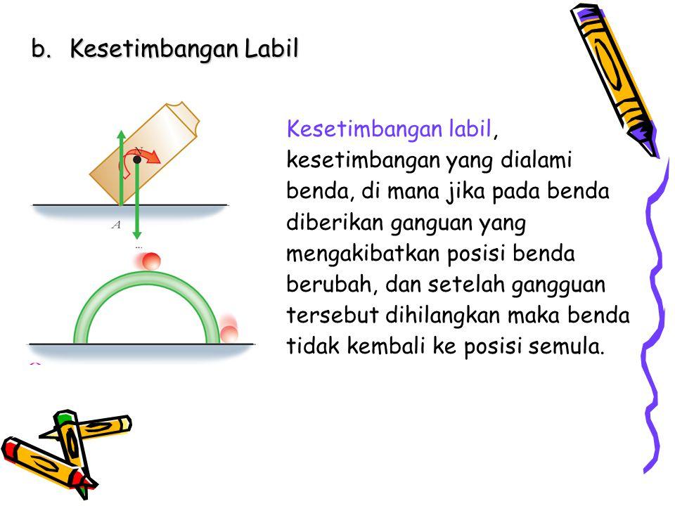 b.Kesetimbangan Labil Kesetimbangan labil, kesetimbangan yang dialami benda, di mana jika pada benda diberikan ganguan yang mengakibatkan posisi benda