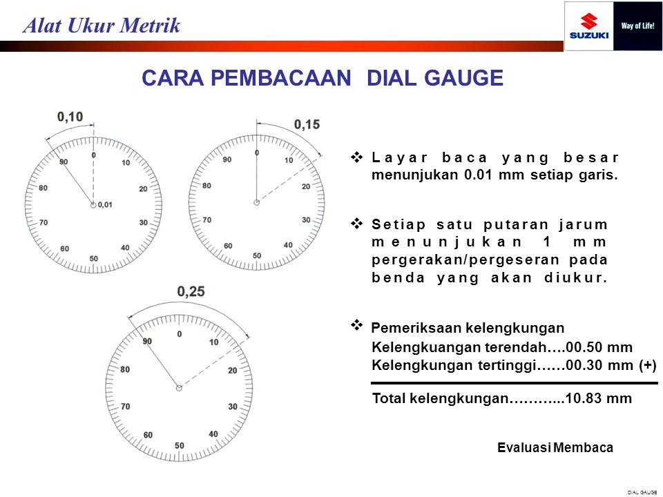 CARA PEMBACAAN DIAL GAUGE Layar baca yang besar menunjukan 0.01 mm setiap garis.  Setiap satu putaran jarum menunjukan 1 mm pergerakan/pergeseran pad