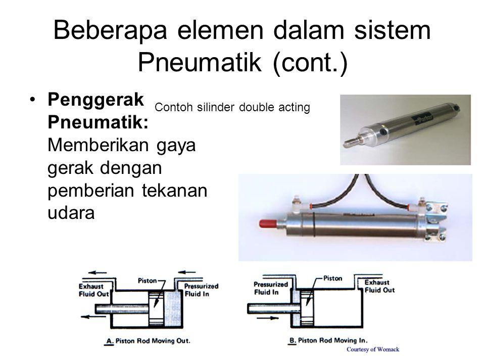 Beberapa elemen dalam sistem Pneumatik (cont.) Penggerak Pneumatik: Memberikan gaya gerak dengan pemberian tekanan udara Contoh silinder double acting