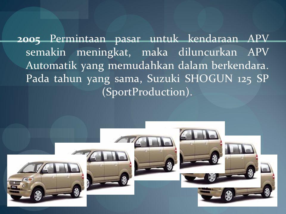 2005 Permintaan pasar untuk kendaraan APV semakin meningkat, maka diluncurkan APV Automatik yang memudahkan dalam berkendara.