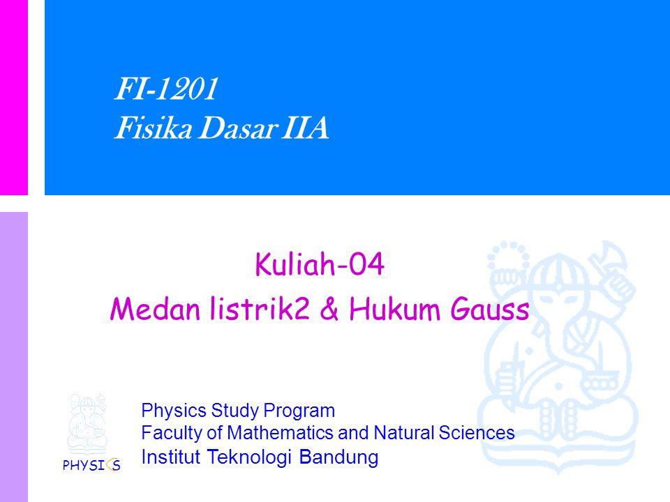 Physics Study Program Faculty of Mathematics and Natural Sciences Institut Teknologi Bandung FI-1201 Fisika Dasar IIA Kuliah-04 Medan listrik2 & Hukum Gauss PHYSI S