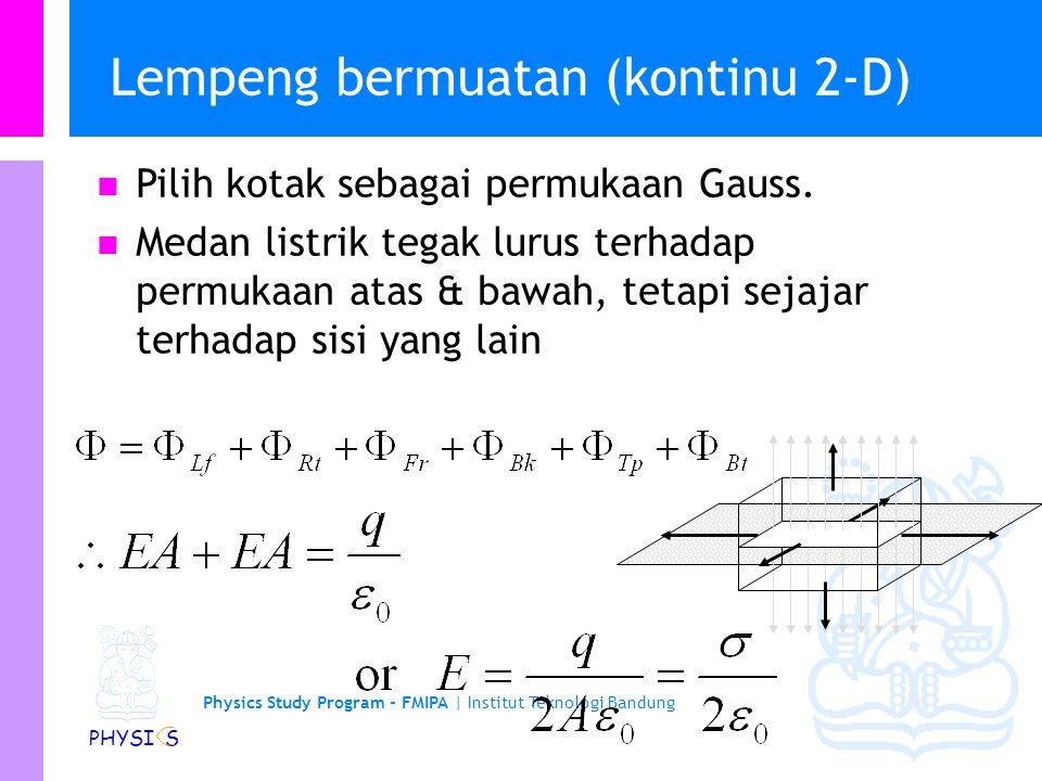 Physics Study Program - FMIPA | Institut Teknologi Bandung PHYSI S Muatan garis (Kontinu 1-D) Pilih silinder sebagai permukaan tertutup Gauss. Medan l