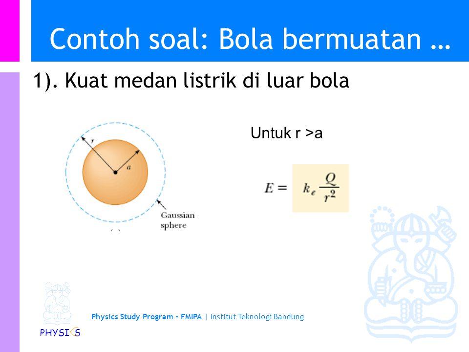 Physics Study Program - FMIPA | Institut Teknologi Bandung PHYSI S Contoh soal: Bola bermuatan Sebuah bola isolator pejal dengan jari-jari a dan rapat