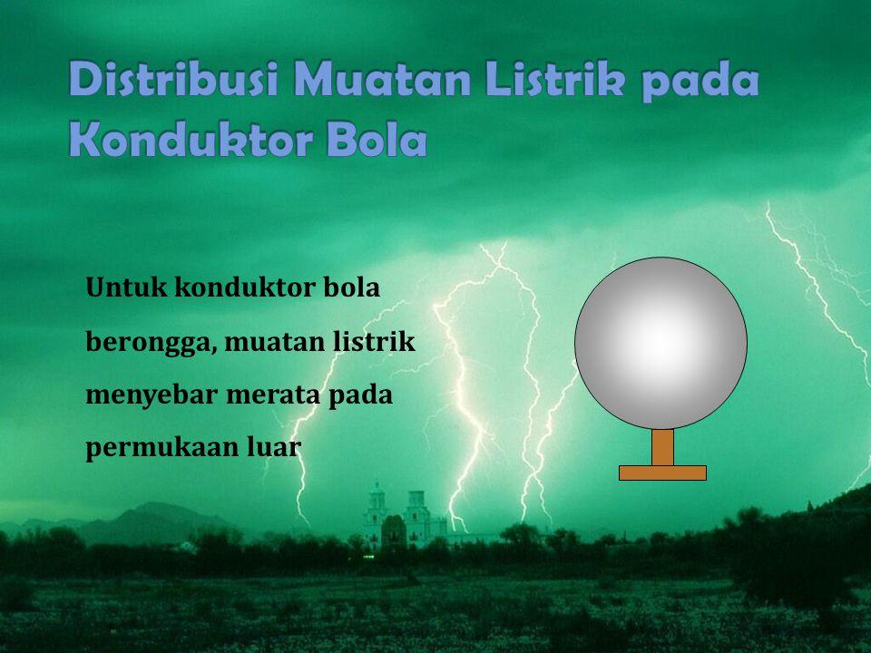 Untuk konduktor bola berongga, muatan listrik menyebar merata pada permukaan luar