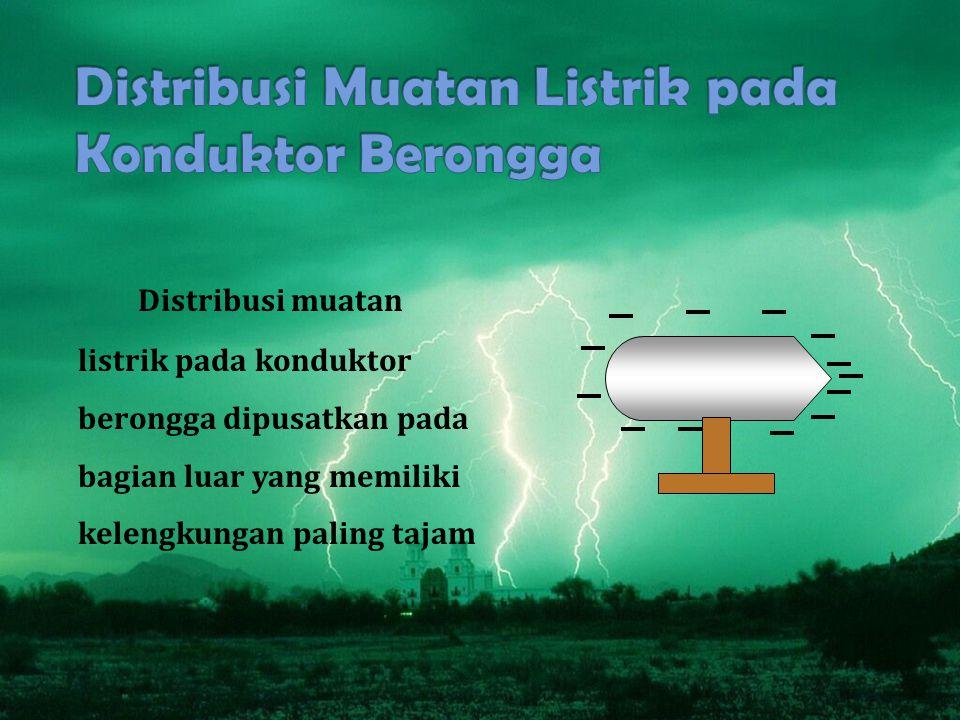 Distribusi muatan listrik pada konduktor berongga dipusatkan pada bagian luar yang memiliki kelengkungan paling tajam