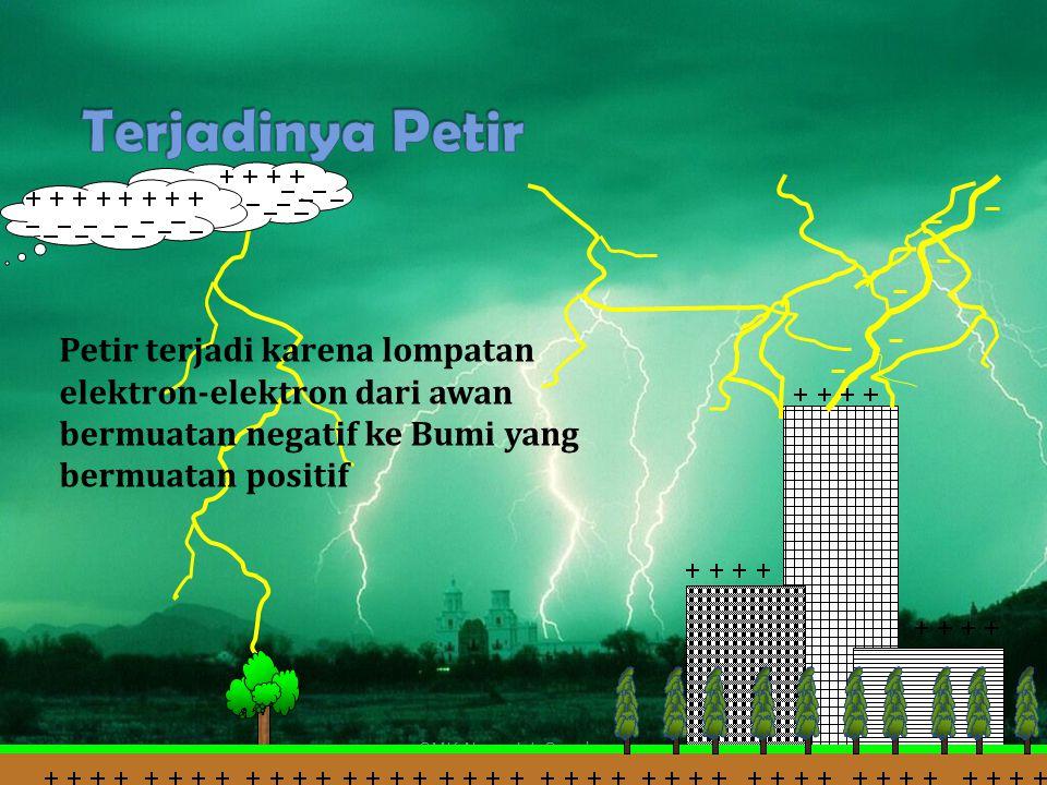 SMK Negeri 1 Surabaya Petir terjadi karena lompatan elektron-elektron dari awan bermuatan negatif ke Bumi yang bermuatan positif