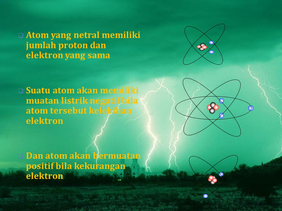 AAtom yang netral memiliki jumlah proton dan elektron yang sama SSuatu atom akan memiliki muatan listrik negatif bila atom tersebut kelebihan elektron DDan atom akan bermuatan positif bila kekurangan elektron