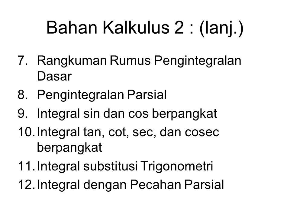Bahan Kalkulus 2 : (lanj.) 7.Rangkuman Rumus Pengintegralan Dasar 8.Pengintegralan Parsial 9.Integral sin dan cos berpangkat 10.Integral tan, cot, sec, dan cosec berpangkat 11.Integral substitusi Trigonometri 12.Integral dengan Pecahan Parsial