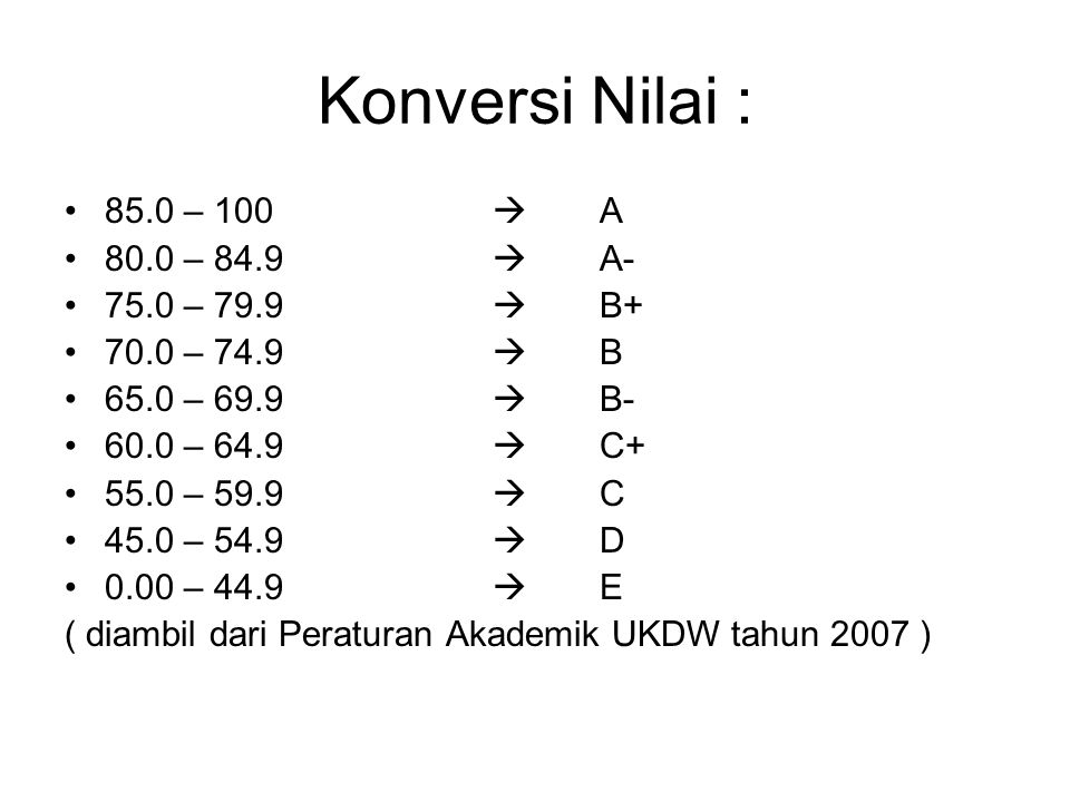 Konversi Nilai : 85.0 – 100  A 80.0 – 84.9  A- 75.0 – 79.9  B+ 70.0 – 74.9  B 65.0 – 69.9  B- 60.0 – 64.9  C+ 55.0 – 59.9  C 45.0 – 54.9  D 0.00 – 44.9  E ( diambil dari Peraturan Akademik UKDW tahun 2007 )