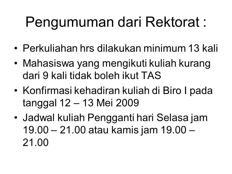 Pengumuman dari Rektorat : Perkuliahan hrs dilakukan minimum 13 kali Mahasiswa yang mengikuti kuliah kurang dari 9 kali tidak boleh ikut TAS Konfirmasi kehadiran kuliah di Biro I pada tanggal 12 – 13 Mei 2009 Jadwal kuliah Pengganti hari Selasa jam 19.00 – 21.00 atau kamis jam 19.00 – 21.00