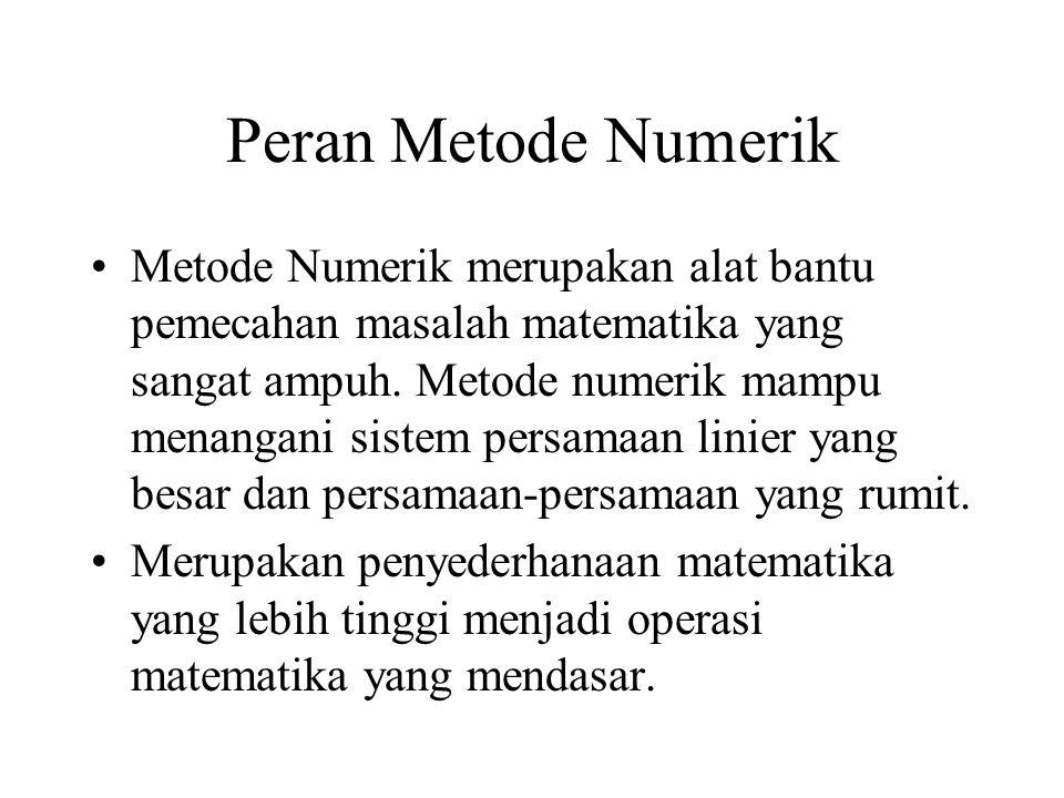 Peran Metode Numerik Metode Numerik merupakan alat bantu pemecahan masalah matematika yang sangat ampuh.