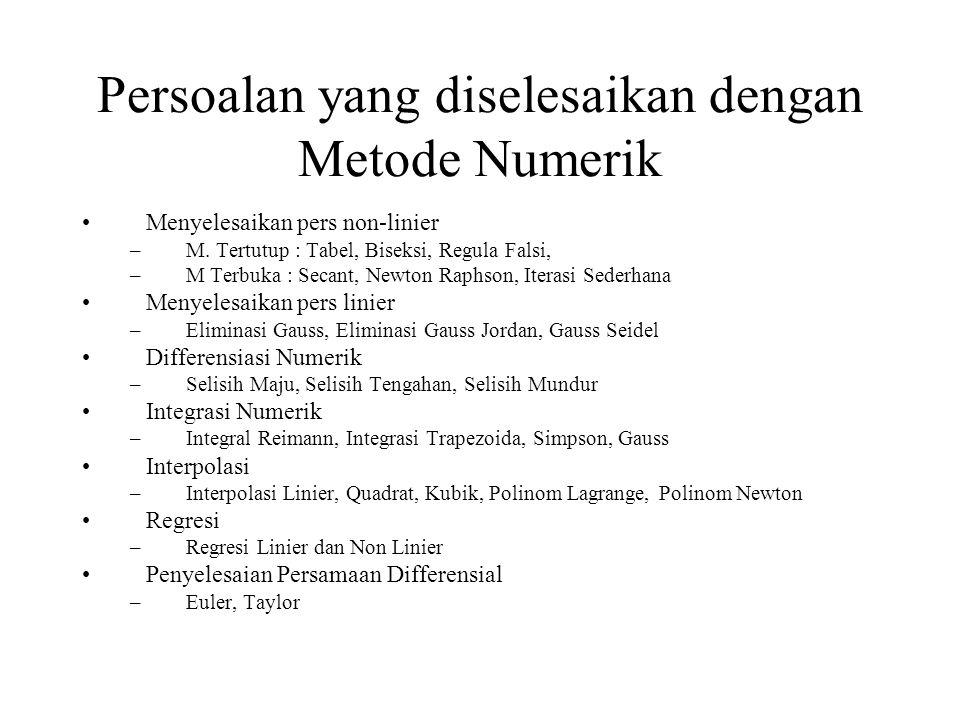 Persoalan yang diselesaikan dengan Metode Numerik Menyelesaikan pers non-linier –M.